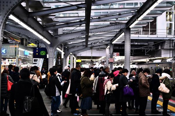 osaka umeda japan station jr platform commuter
