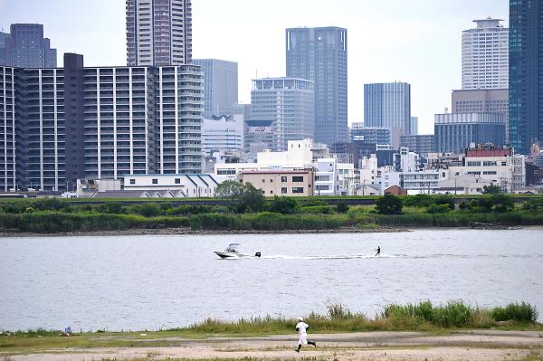 osaka umeda japan yodogawa river waterski