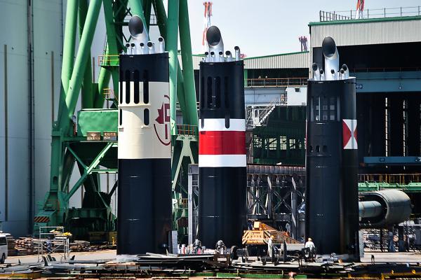 shipyard funnel marugame shikoku japan seto-naikai