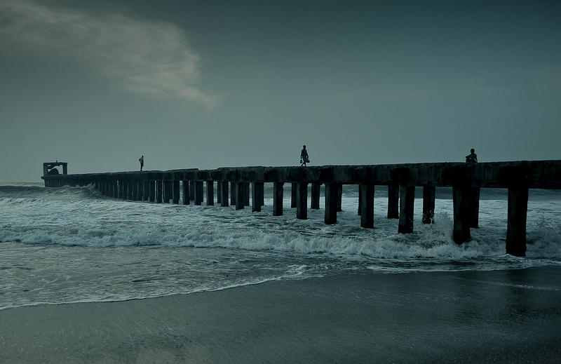 Cloudy morning on a pier
