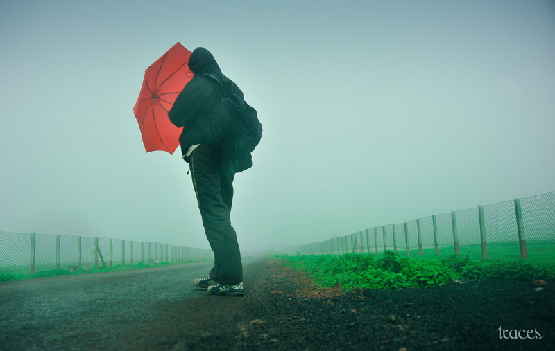 Rain spray and the red umbrella!