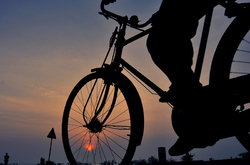 Cycling across the Pulicat Sunrise!