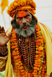 In saffron, totally renounced and being god like!