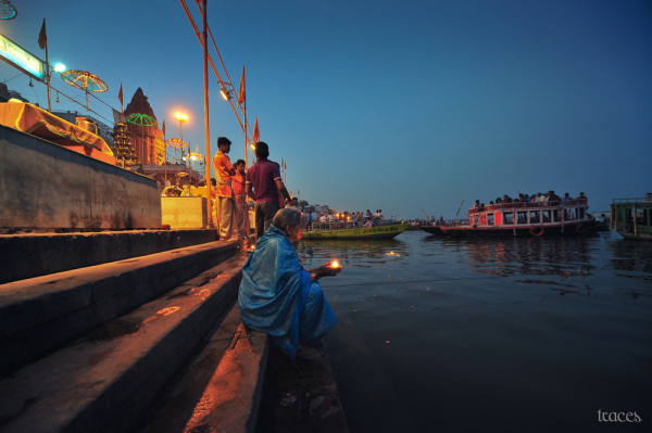 On the banks of Ganges, at twilight..