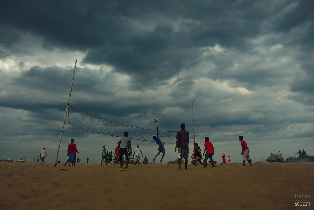Beach Volleyball on cloudy day