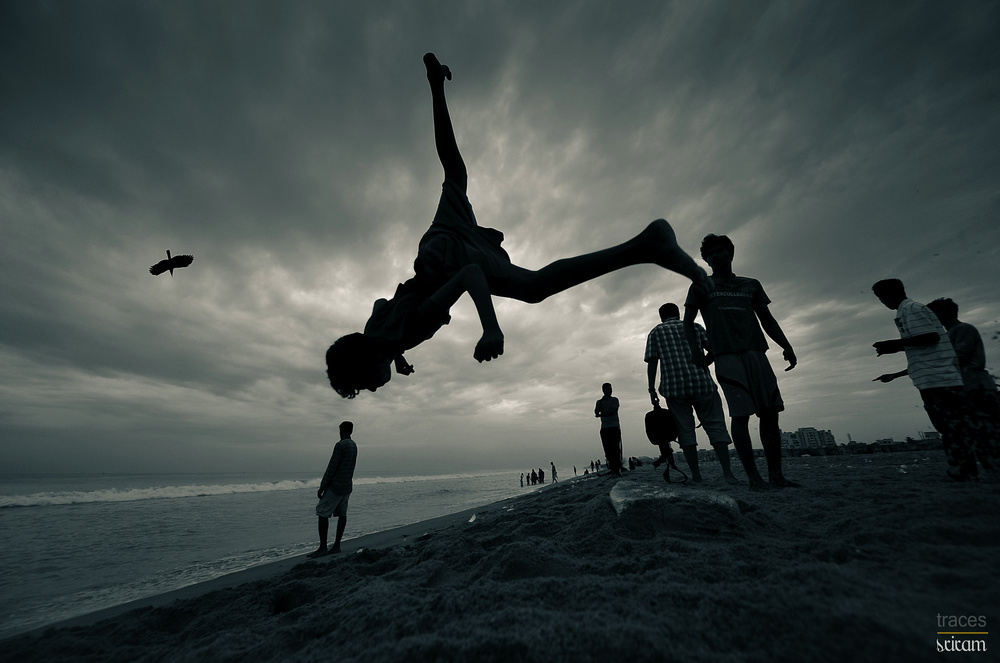 Walking upside down in the air