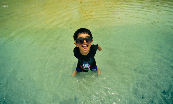 Joy at the shallow waters