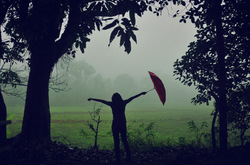 The joy in feeling the first drizzle