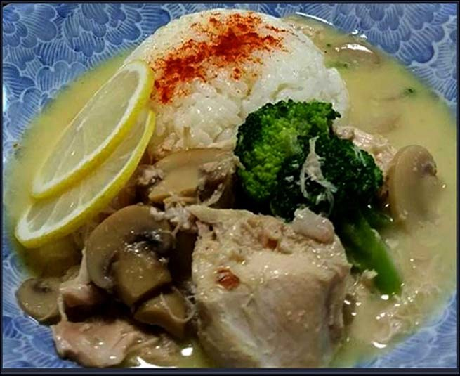 Chicken  with Mushroom Cream Sauce & Butter Rice
