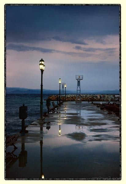 clouds storm dock sea lights