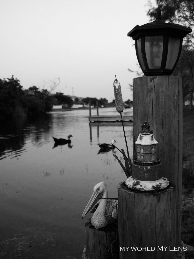 The Pier Post in B&W