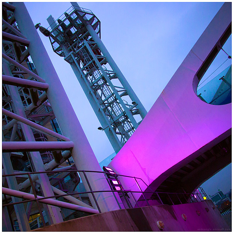 pink bridge lights manchester salford quays