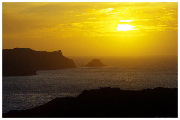 sunset skomer island pembrokeshire wales