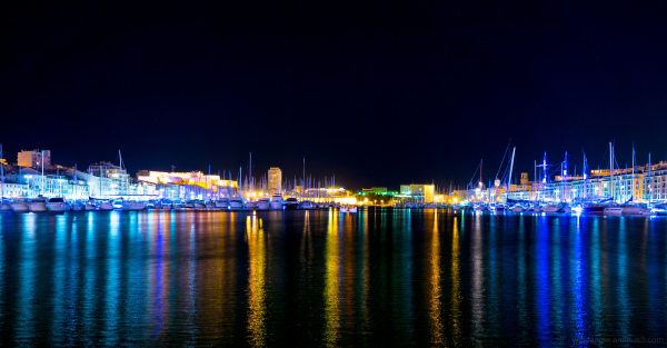 marseille harbour night time