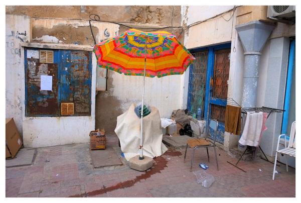 parasol umbrella colourful corner monastir tunisia