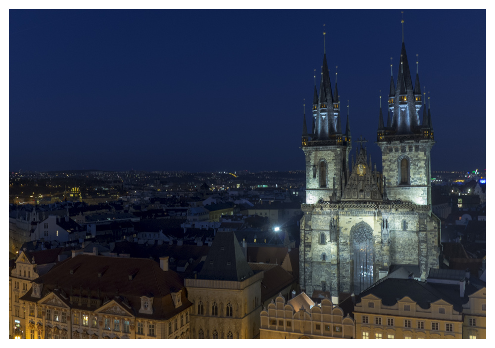 prague night tower view city lights