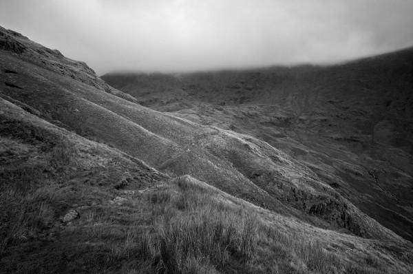 walk helvellyn hill november overhanging cloud