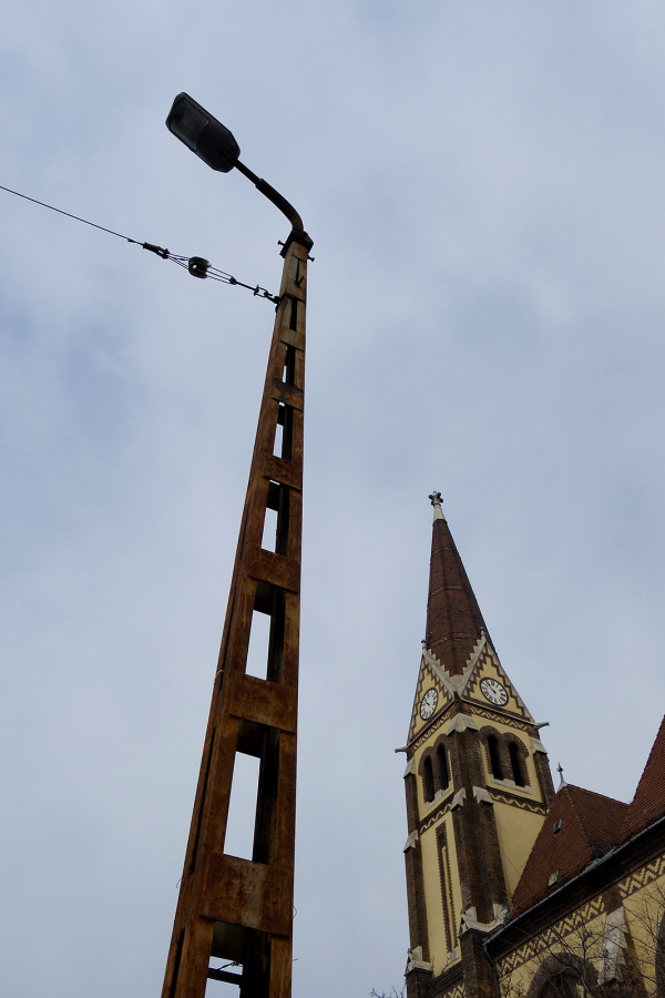 concrete lamp post church spire budapest