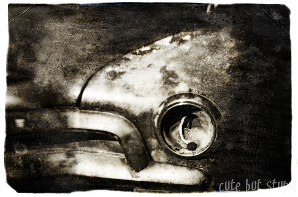 layered textured image old car