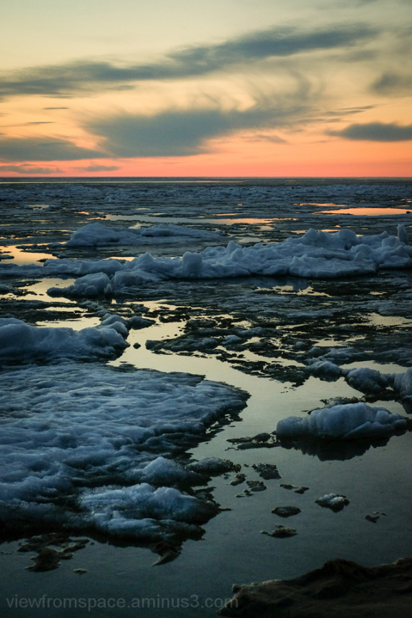 sunset lake ice lake winnipeg lester beach manitob