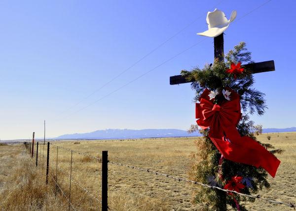 Roadside memorial along Interstate 25