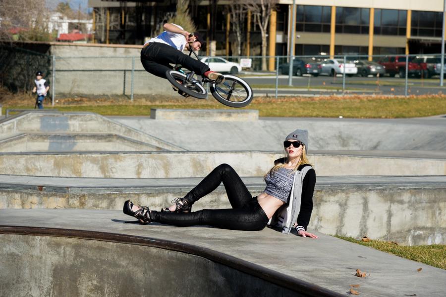 model and biker