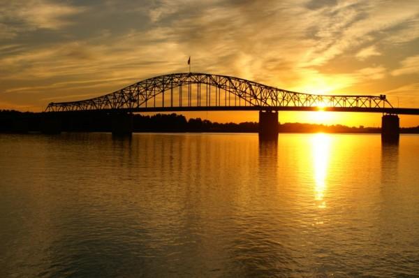blue bridge at sunrise