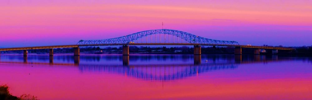 blue bridge in pink