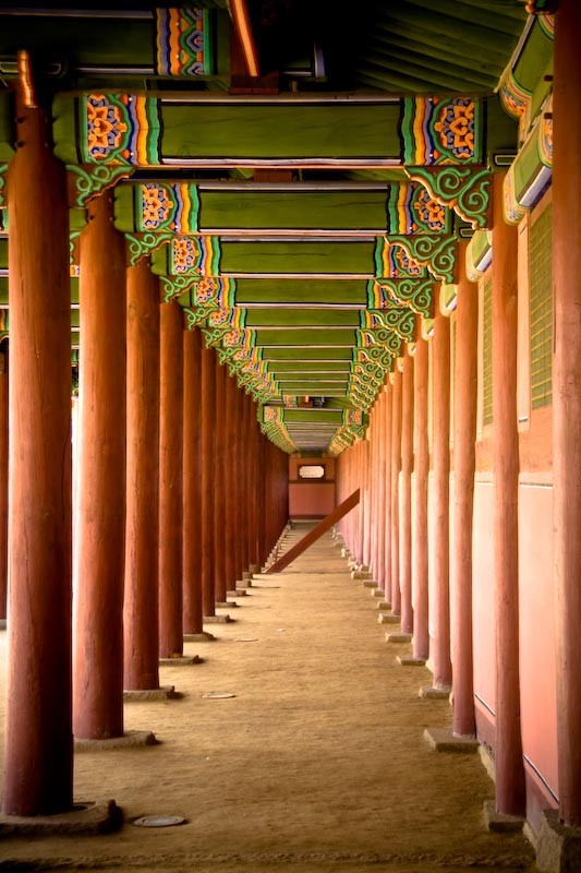 Wooden pillars at Gyeongbokgung Palace in Seoul