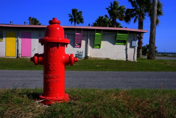 Fire hydrant and motel, Rockport, Texas
