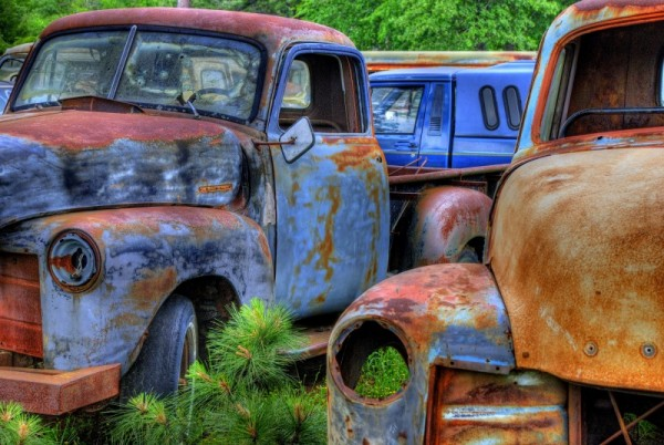 Old cars in Junkyard , Route 71