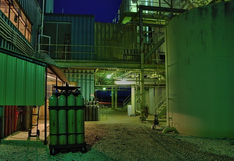 Tanks and bottles, old boiler, Rayburn power sta.