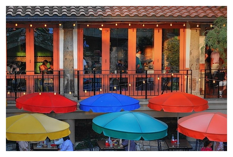 Riverwalk restaurant at sunset, San Antonio