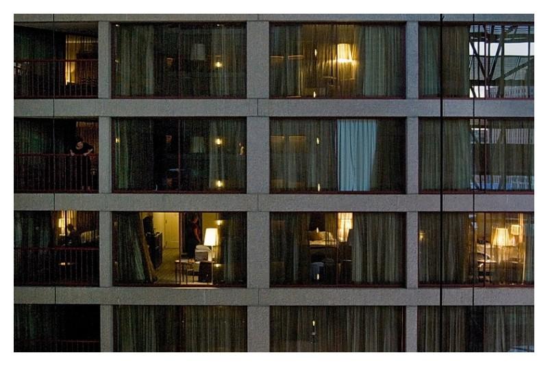 Hotel room windows, Riverwalk Hyatt, San Antonio