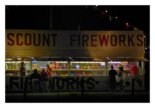 Fireworks stand the night before July 4, 2008