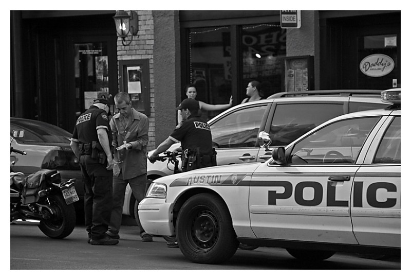 Police stop on 6th Street, Austin