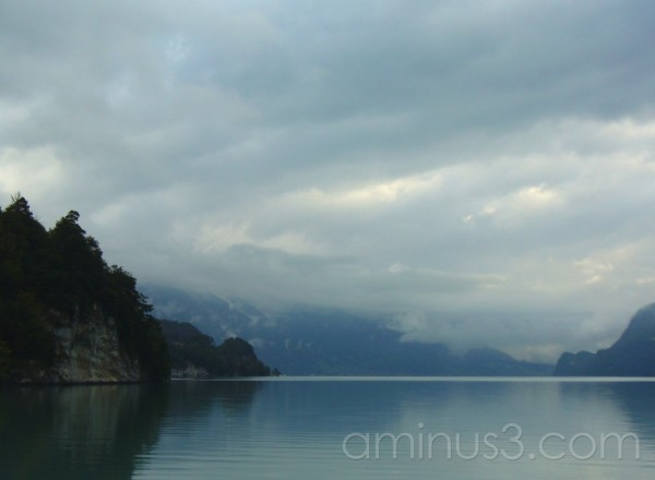 Lake Brienz, Switzerland on a cloudy rainy day