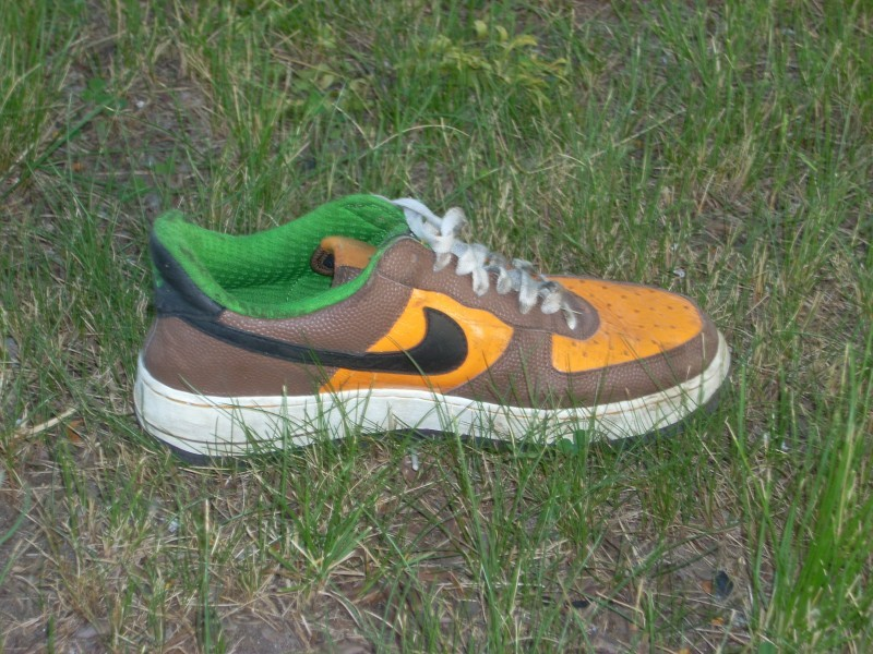 nike shoe abandonded in grass