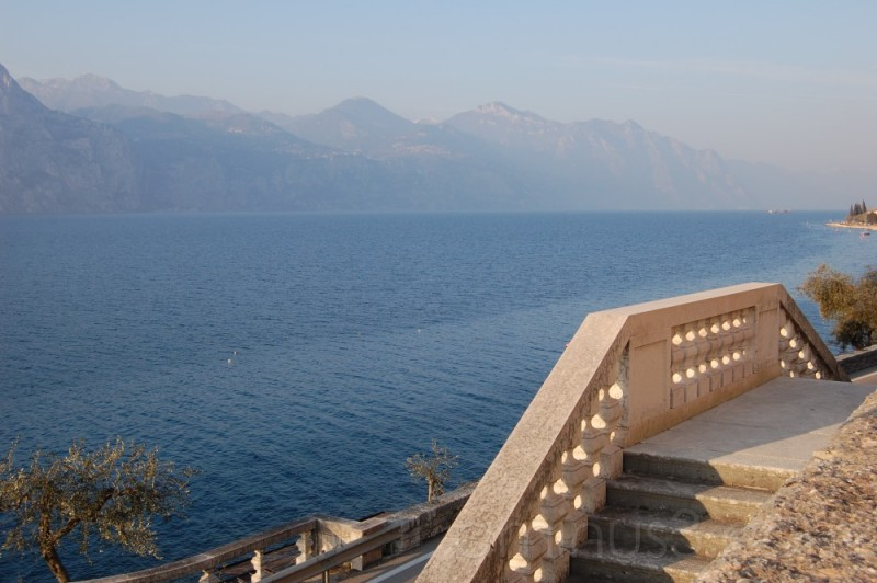 Stairs in front of the lake
