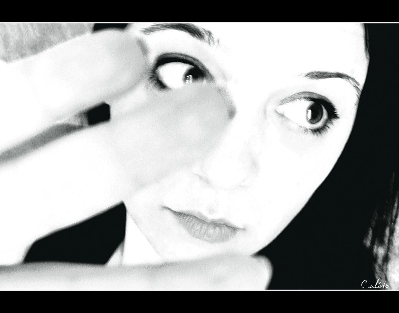 portrait, emotional, b/w, hand, eyes, emily