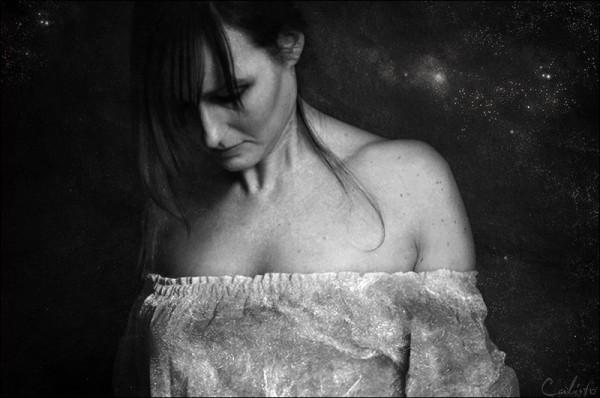 red portrait b-w female lie dreams silver stardust