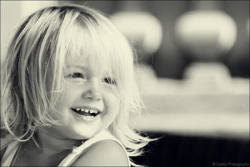 smile, girl, portrait, b/w