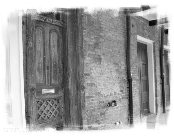 Enhanced BW image of a French Quarter door