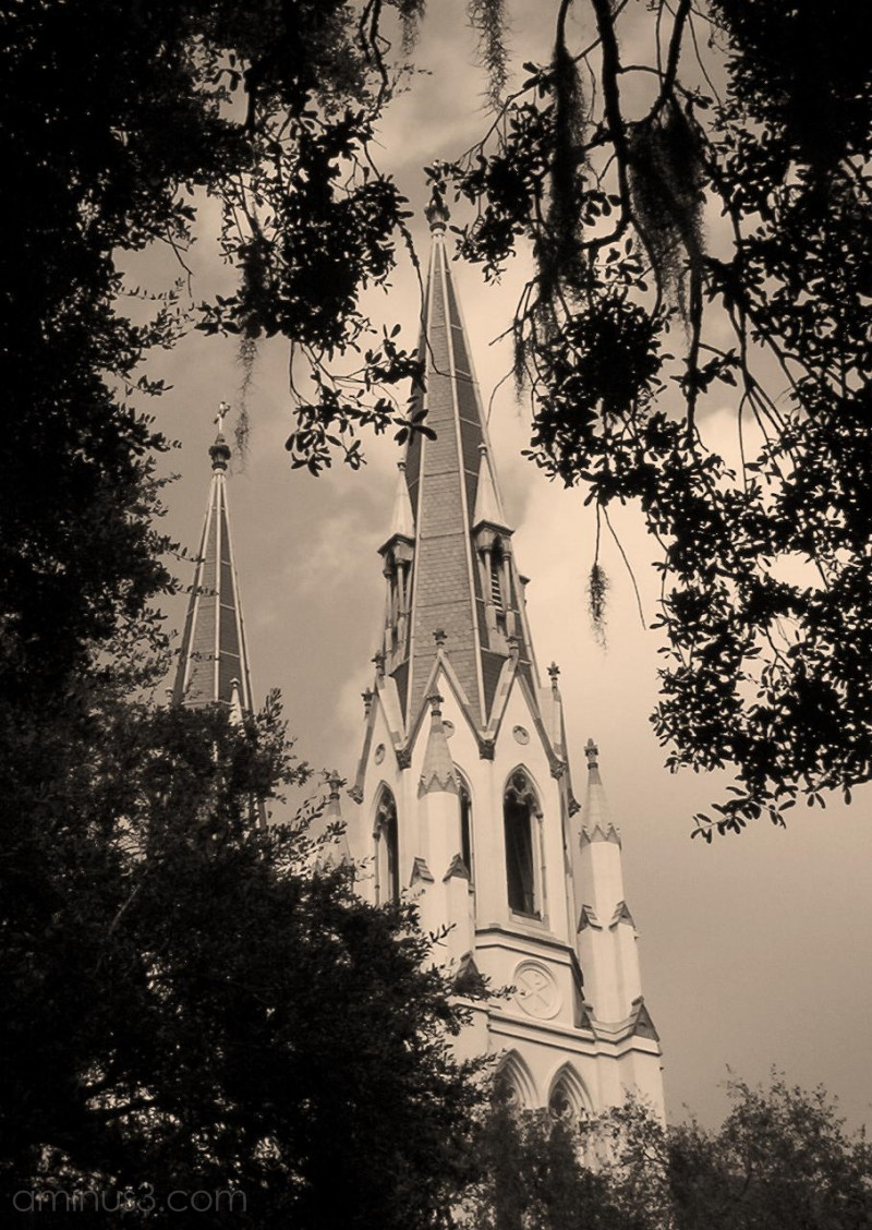 Sepia version of Savannah cathedral