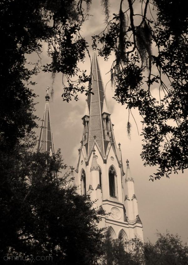 Sepia version of Savannah cathedral