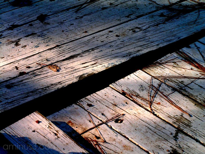 A photoshopped deck showing pine needles & crack