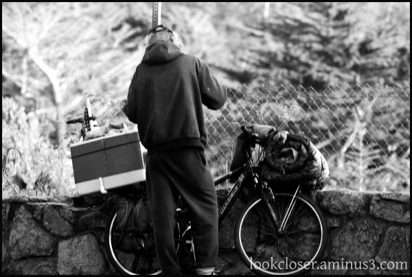 CA Hwy1 people bike bw
