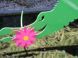 Pink Flower/Green Gator