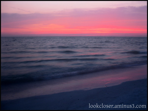 sunset reflection sand water Gulf FL twilight