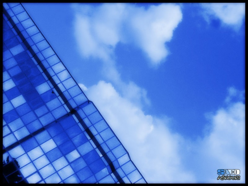 blue building glass glassy